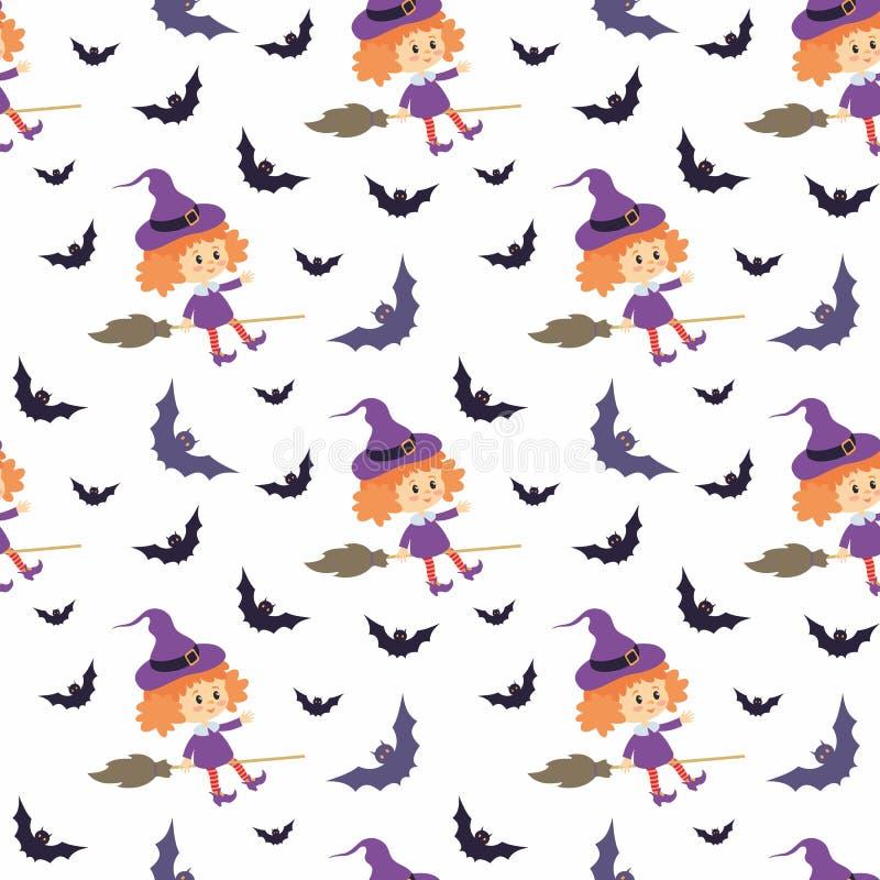 Bezszwowy wzór z tradycyjnymi charakterami Halloween ilustracja wektor