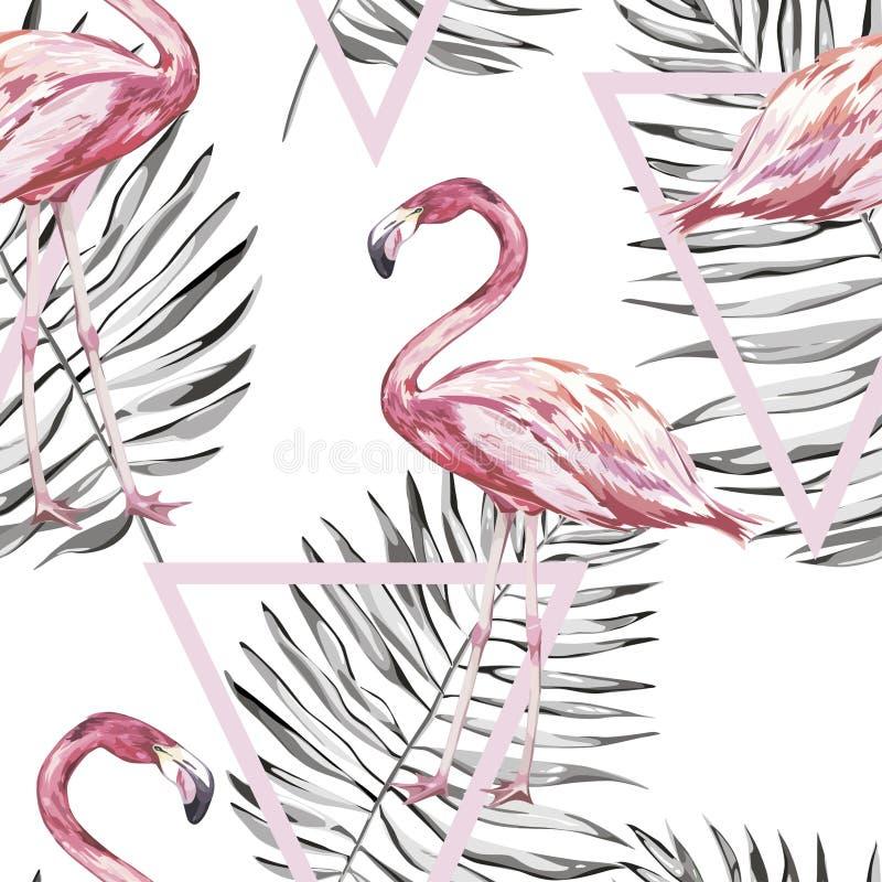 Bezszwowy wzór z tropikalnym flamingiem i liśćmi Element dla projekta zaproszenia, filmów plakaty, tkaniny i inny, royalty ilustracja