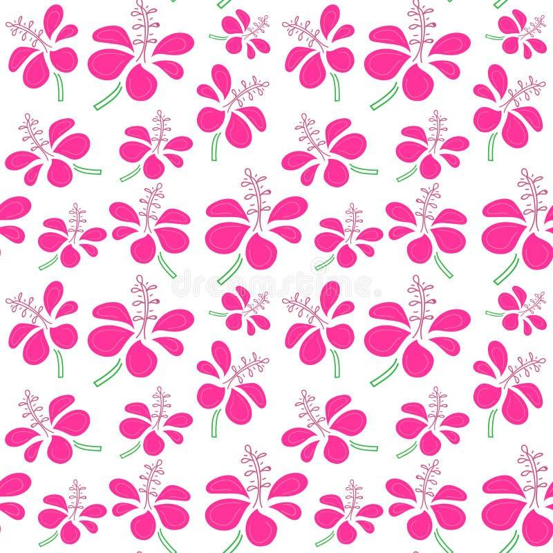 Bezszwowy wzór z tropikalnym kwiatu tłem ilustracja wektor