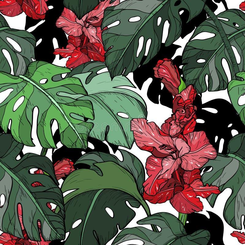 Bezszwowy wzór z Tropikalnymi czerwień kwiatami i zieleń liśćmi ilustracji