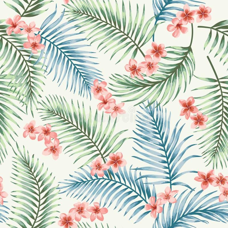 Bezszwowy wzór z tropikalnymi liśćmi i kwiatami ilustracji