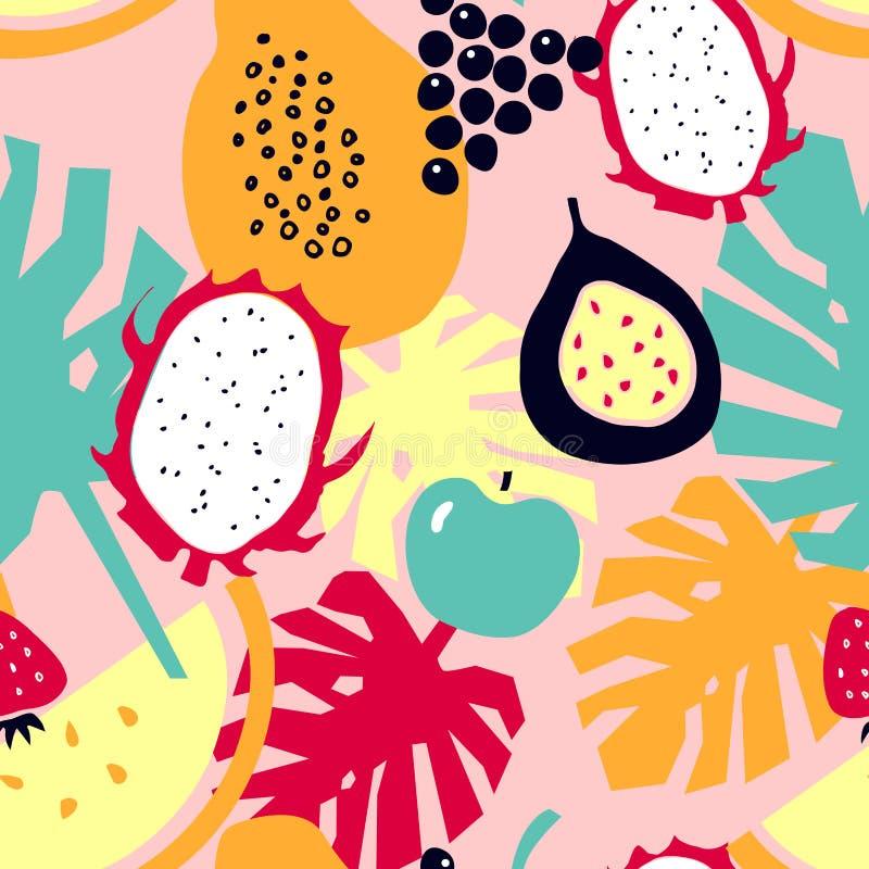 Bezszwowy wzór z tropikalnymi owoc - melon; smok owoc; melonowiec; truskawka; jabłko; winogrona; pasyjna owoc royalty ilustracja