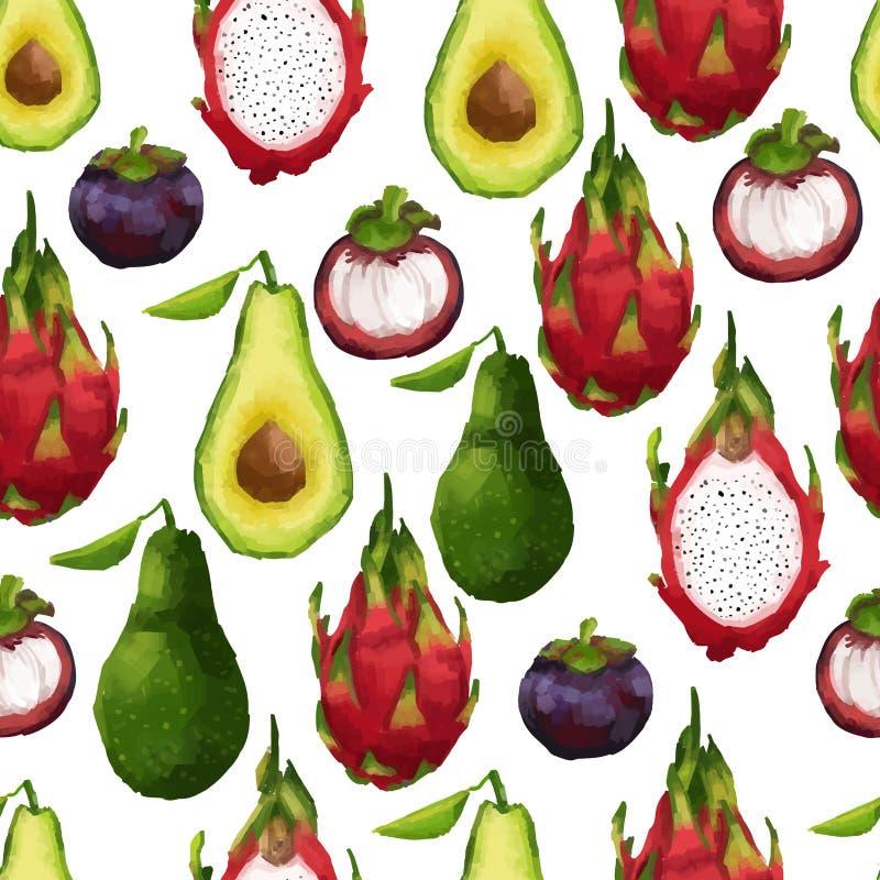 Bezszwowy wzór z tropikalnymi owoc wewnątrz ilustracji