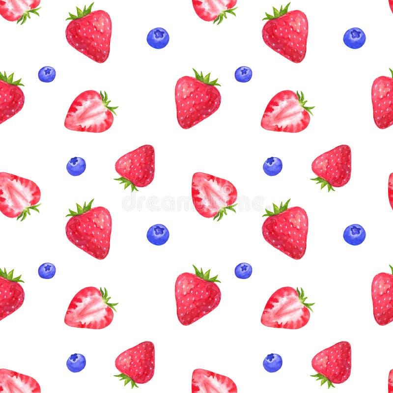 Bezszwowy wzór z truskawką i czarną jagodą Ręka rysująca akwareli ilustracja pojedynczy białe tło ilustracji