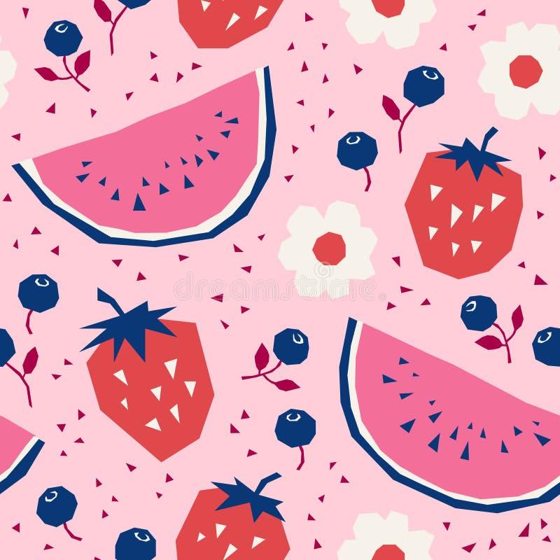 Bezszwowy wzór z truskawkami, arbuzami, czarnymi jagodami i kwiatami, royalty ilustracja