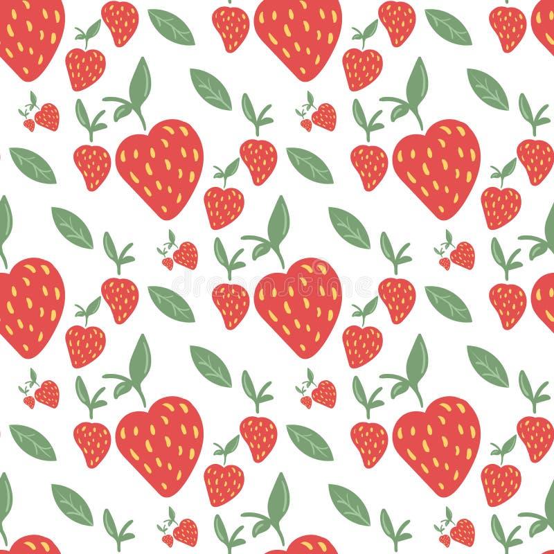 Bezszwowy wzór z truskawkami i zieleń liśćmi ilustracji