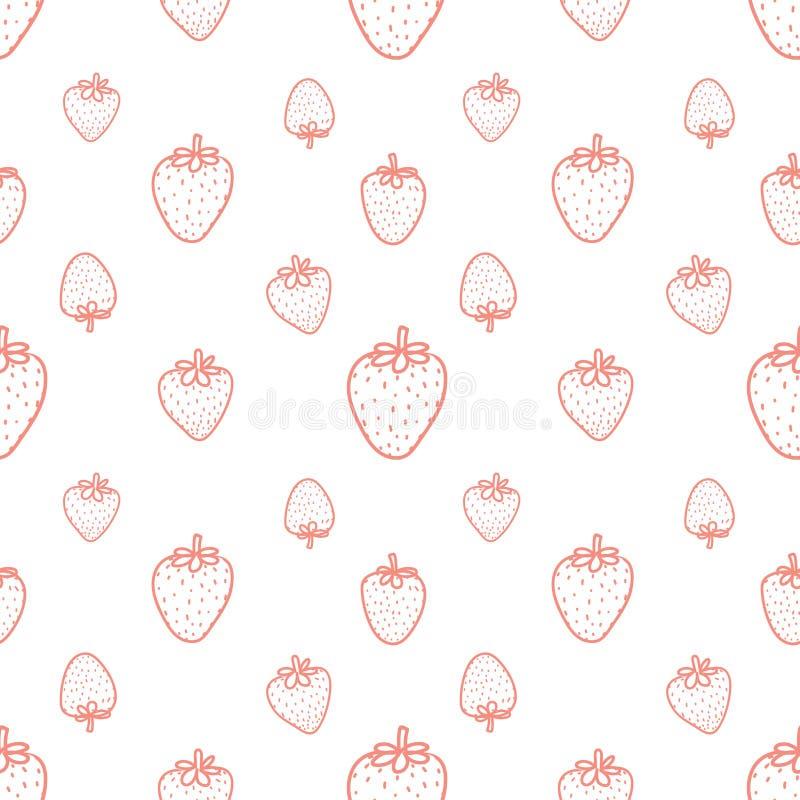 Bezszwowy wzór z truskawkowym tłem ilustracja wektor