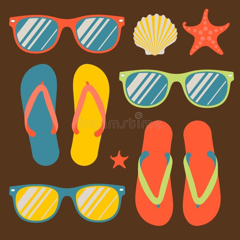 Bezszwowy wzór z trzepnięcie okularami przeciwsłonecznymi i klapami ilustracji
