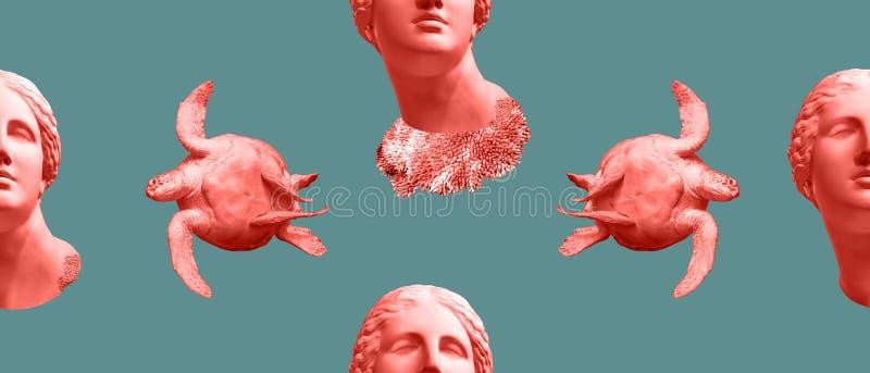Bezszwowy wzór z twarzą antyczna statua i zielony denny żółw Sztuka, przygoda, podwodny archeologii pojęcie obraz royalty free