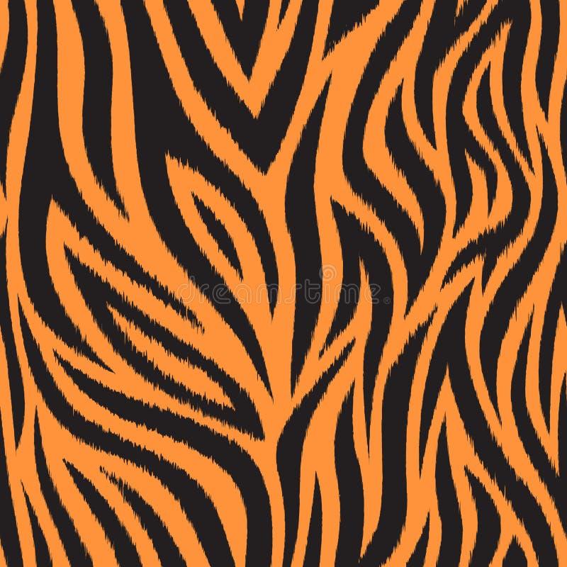 Bezszwowy wzór z tygrysią skórą Czarni i pomarańczowi tygrysi lampasy Popularna tekstura ilustracja wektor