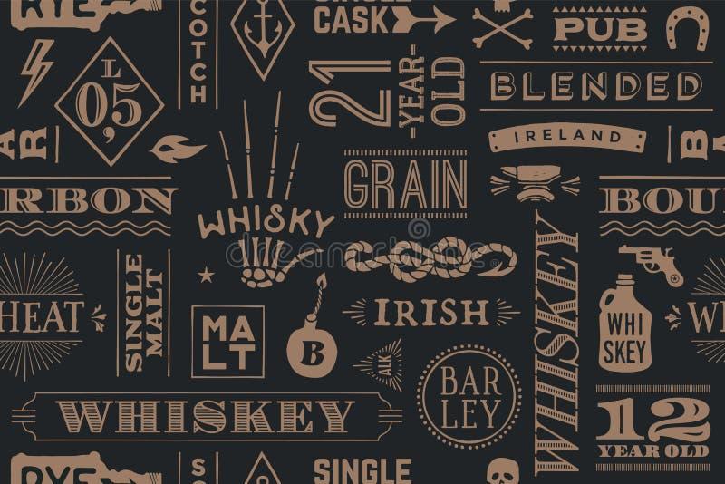 Bezszwowy wzór z typ whisky ilustracji
