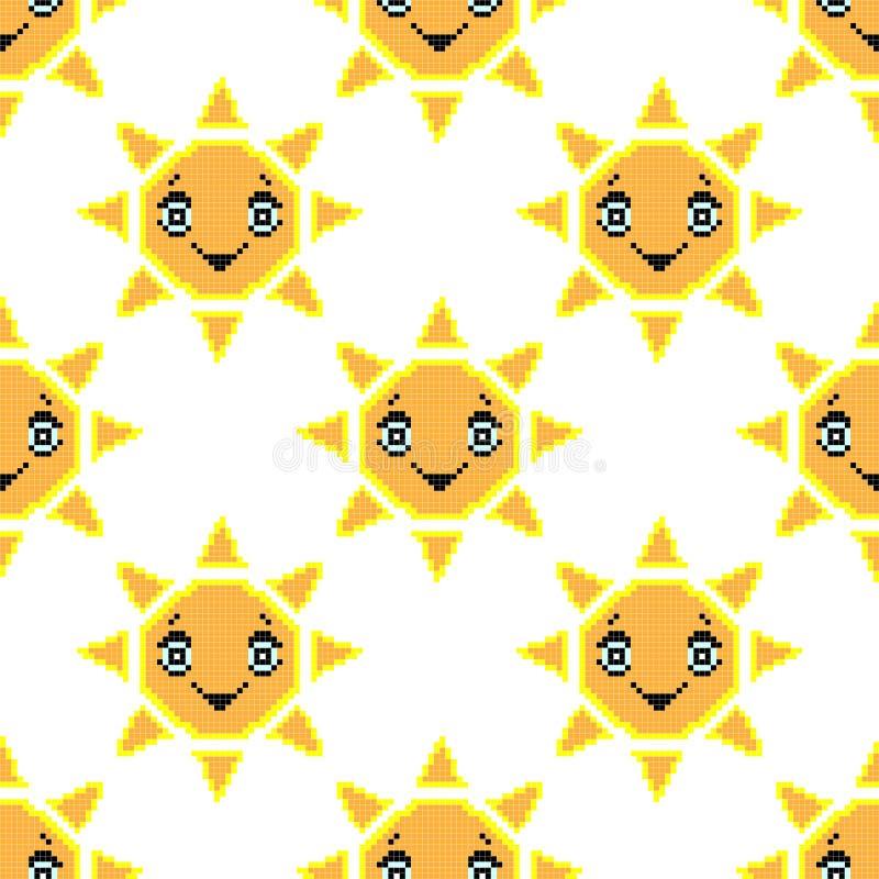 Bezszwowy wzór z uśmiechu słońcem Piksel sztuki tło, wektorowa ilustracja Retro gra styl ilustracja wektor