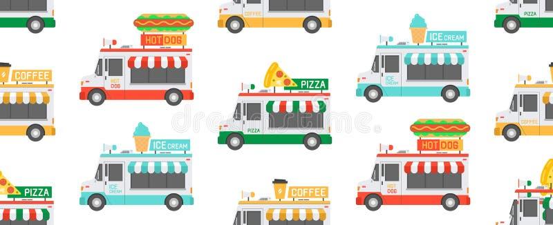Bezszwowy wzór z ulicznymi Karmowymi ciężarówkami ilustracji