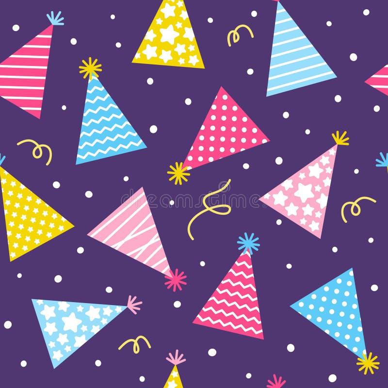 Bezszwowy wzór z urodziny nakrętkami na purpurowym tle ilustracja wektor