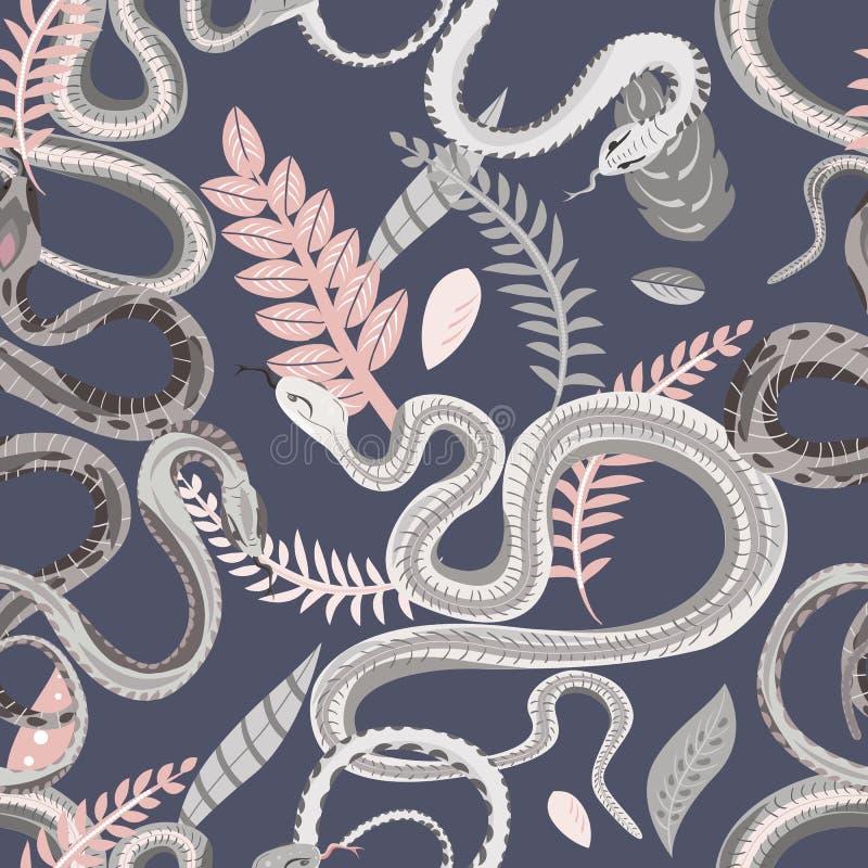 Bezszwowy wzór z wężami i roślinami Kolorowa tapeta na tropikalnym temacie na szarym tle ilustracji