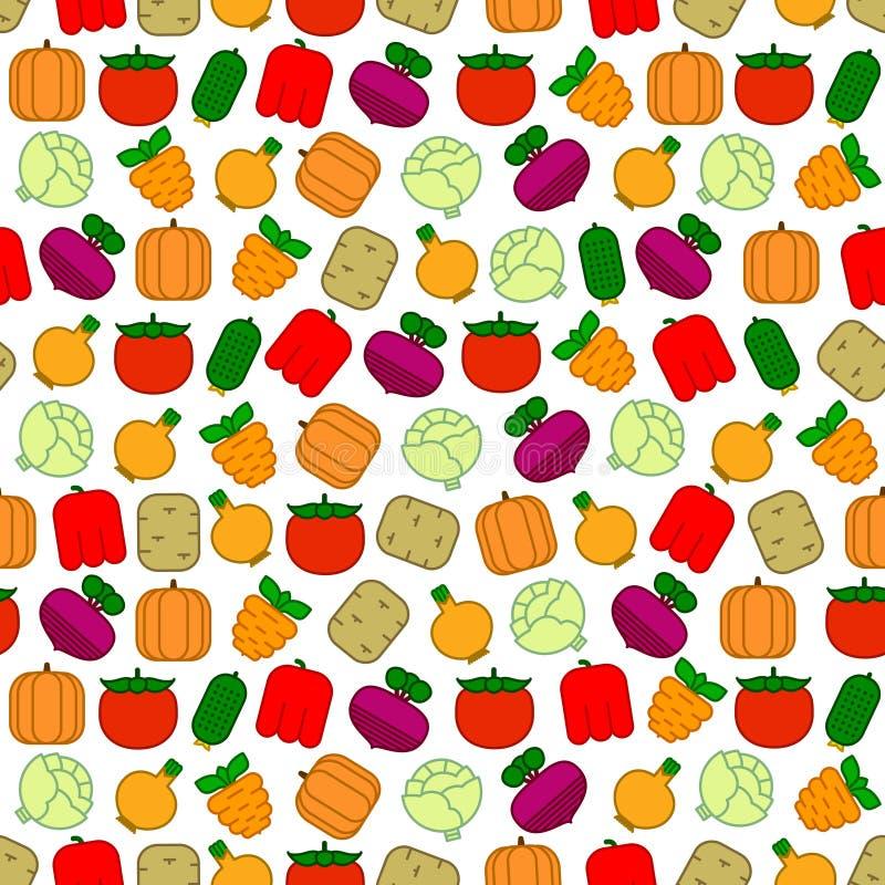 Bezszwowy wzór z warzywami royalty ilustracja