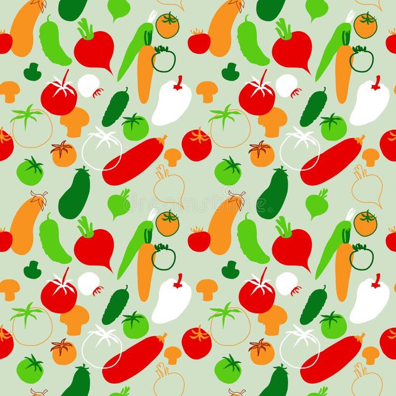 Bezszwowy wzór z warzywami na jaskrawym tle ilustracja wektor