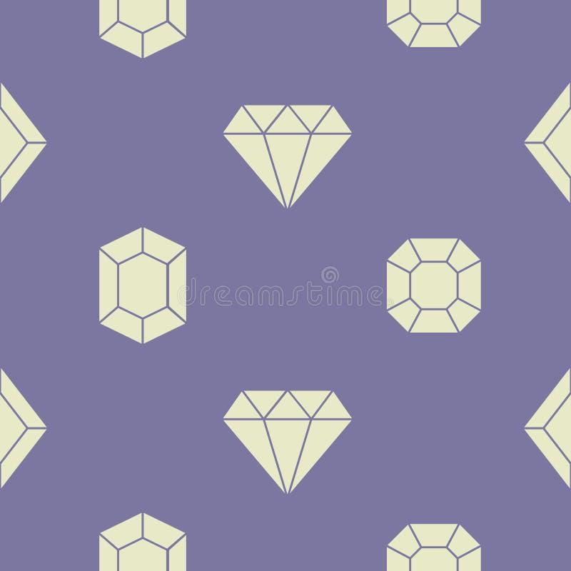 Bezszwowy wzór z Wektorowymi diamentowymi ikonami royalty ilustracja