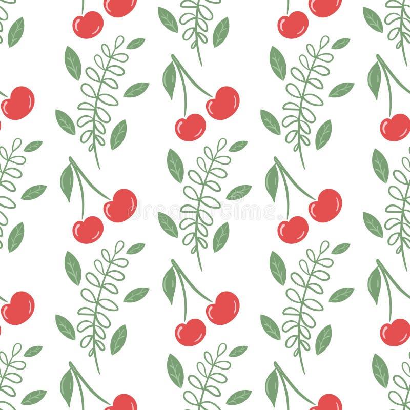 Bezszwowy wzór z wiśniami i zieleń liśćmi ilustracji