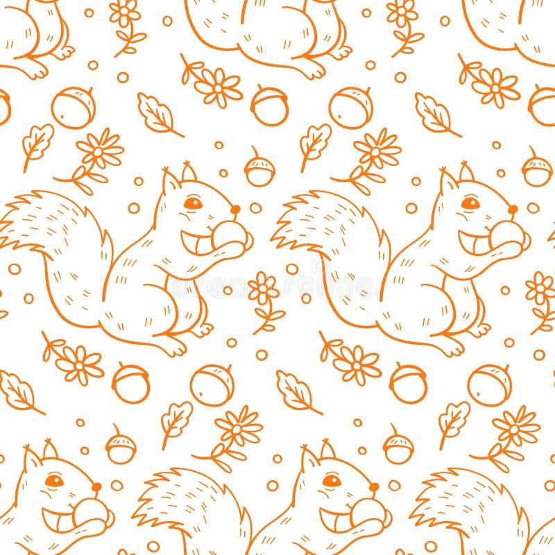 Bezszwowy wzór z wiewiórki ilustracji