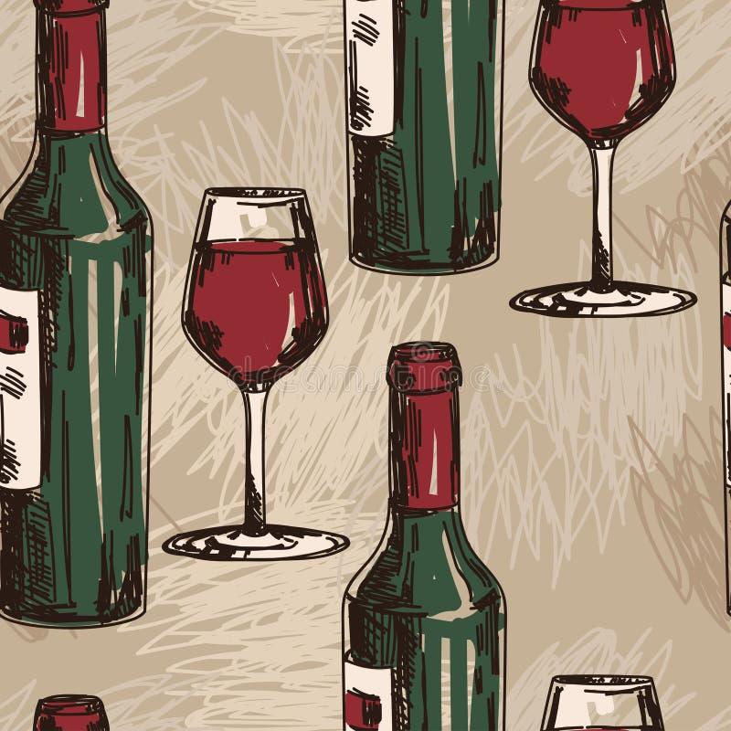 Bezszwowy wzór z wino butelkami i win szkłami ilustracja wektor