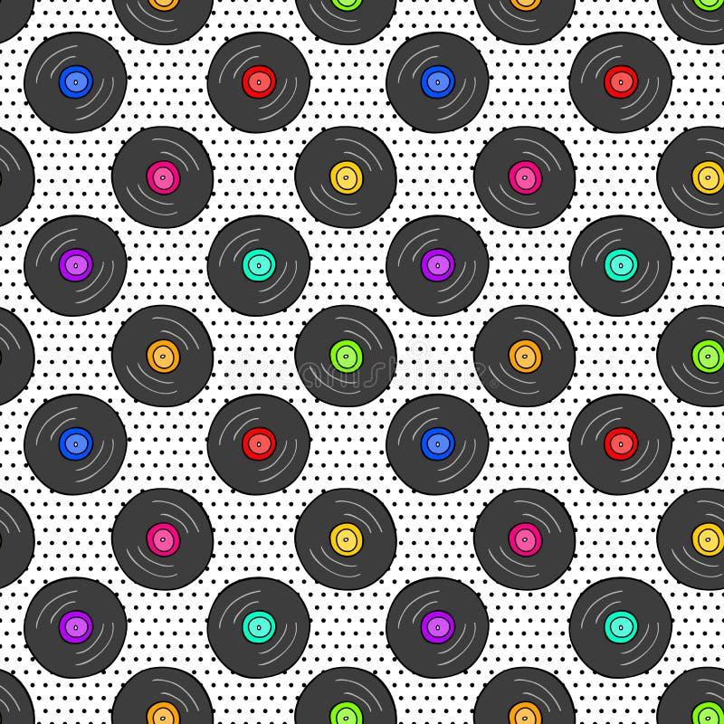 Bezszwowy wzór z winylowym rejestrem na kropkowanej teksturze royalty ilustracja