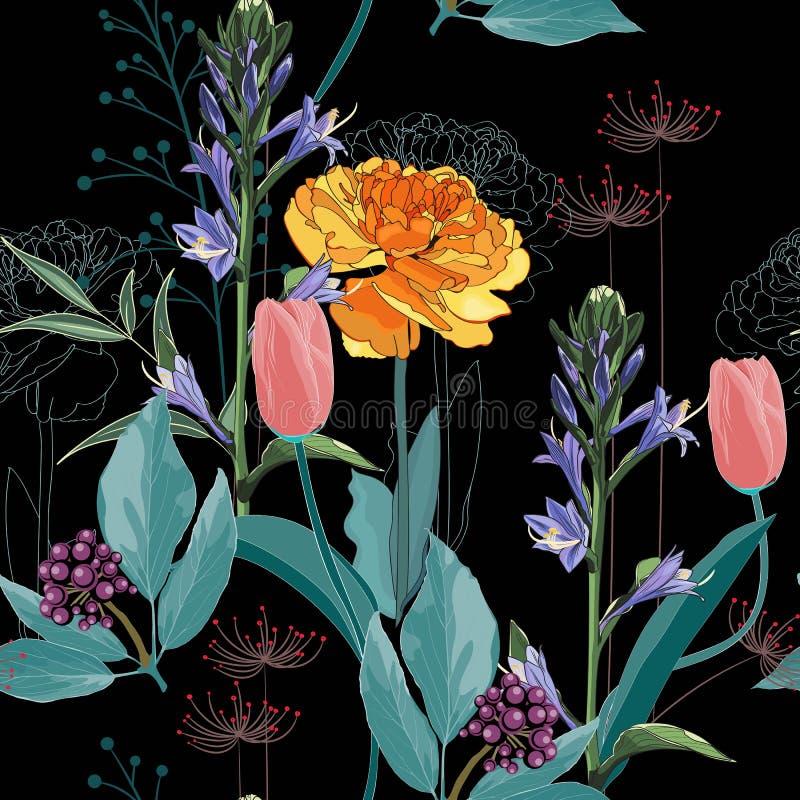 Bezszwowy wzór z wizerunkiem żółty tulipan i dużo typ kwitnie i ziele royalty ilustracja