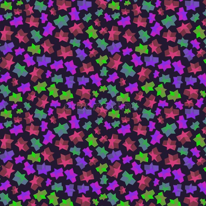 Bezszwowy wzór z wolumetrycznymi kolor gwiazdami royalty ilustracja