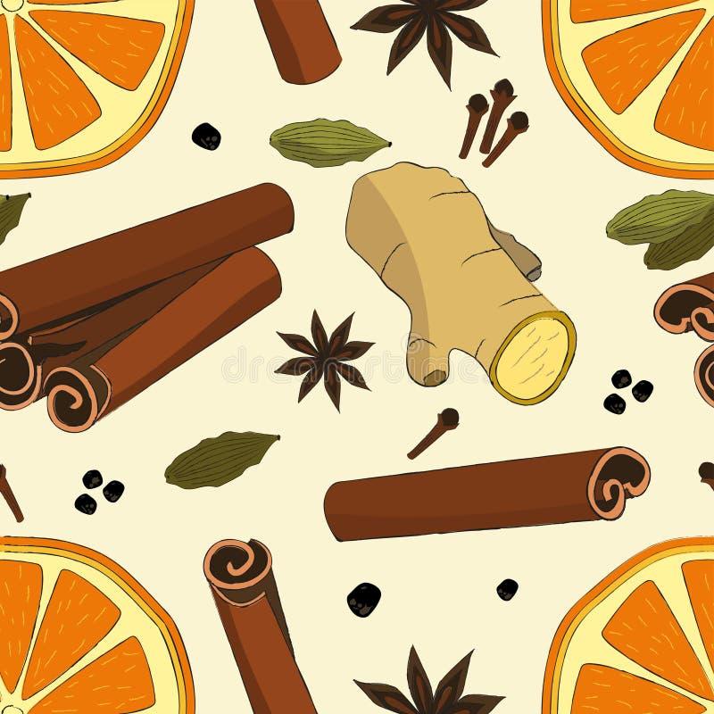 Bezszwowy wzór z wysuszoną pomarańcze, imbirem, kardamonem, goździkowym, cynamon i anyż Wzór z pikantnością dla bożych narodzeń ilustracja wektor