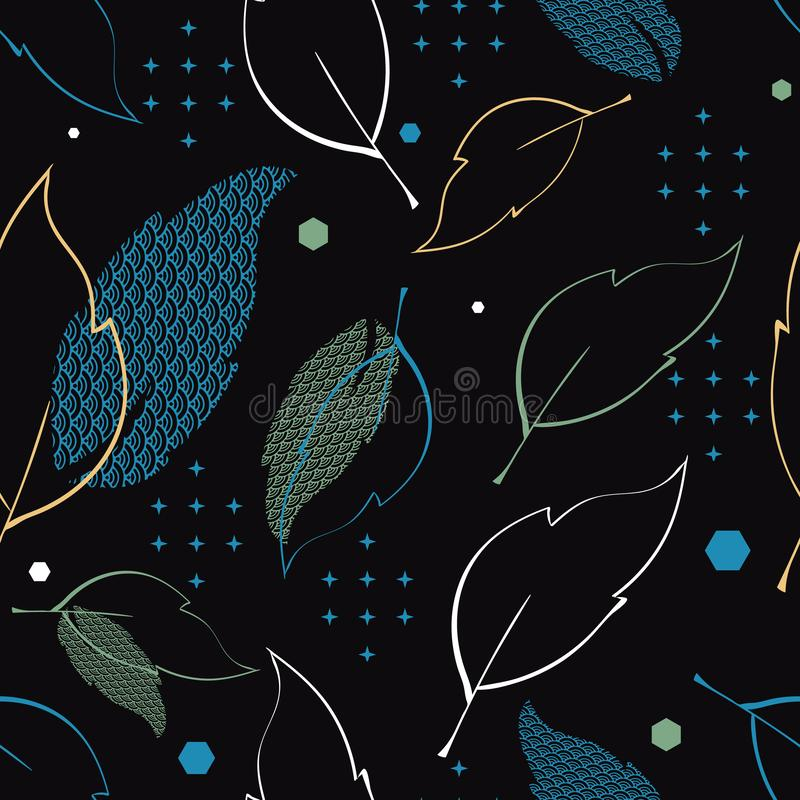 Bezszwowy wzór z wzorzystymi liśćmi, gwiazdami i sześciokątami, Powikłany ilustracyjny druk w błękicie, zieleni, bielu, czerni i  ilustracja wektor