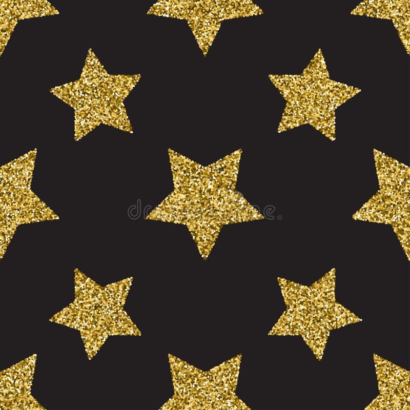 Bezszwowy wzór z złocistą błyskotliwością textured gwiazdy na ciemnym tle royalty ilustracja