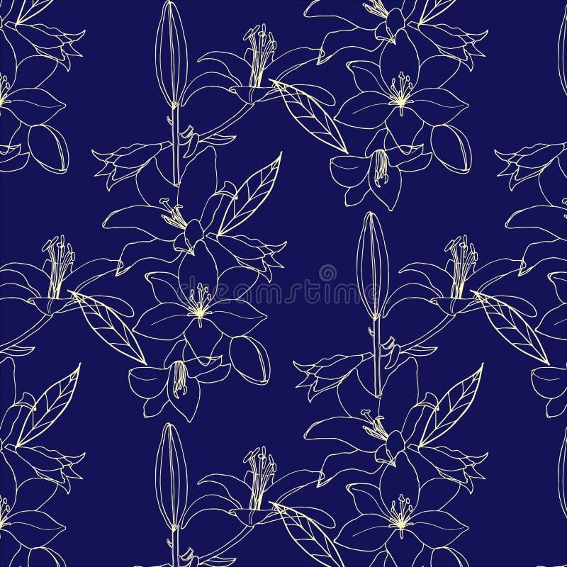 Bezszwowy wzór z złocistym kwiatem na błękitnym tle lilia ilustracji