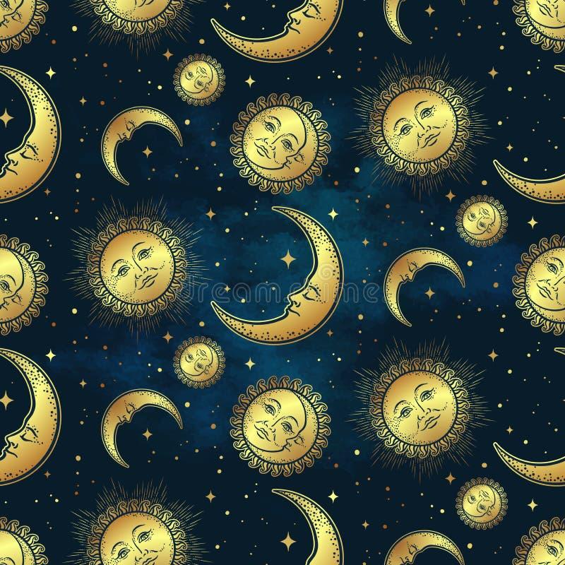 Bezszwowy wzór z złocistymi niebiańskimi bodies księżyc, słońce i gwiazdy nad błękitnym nocnego nieba tłem -, Boho tkaniny modny  royalty ilustracja