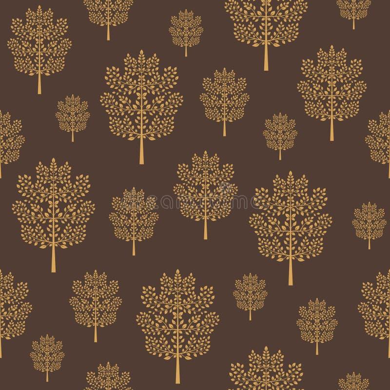 Bezszwowy wzór z złotymi abstrakcjonistycznymi drzewami na ciemnym kawowym brązu tle ilustracji