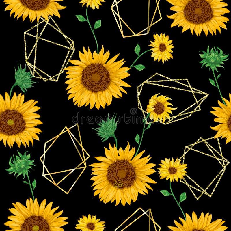 Bezszwowy wzór z złotymi poligonalnymi kształtami i słoneczniki w akwareli projektujemy ilustracja wektor