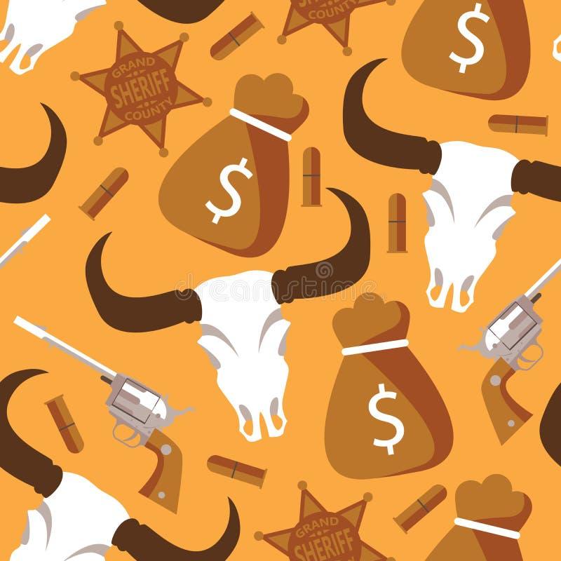 Bezszwowy wzór z zachodnimi i dzikimi zachodnimi towarami na żółtym tle Bawoli scull, pocisk, kolt, szeryf gwiazda, pieniądze tor ilustracji