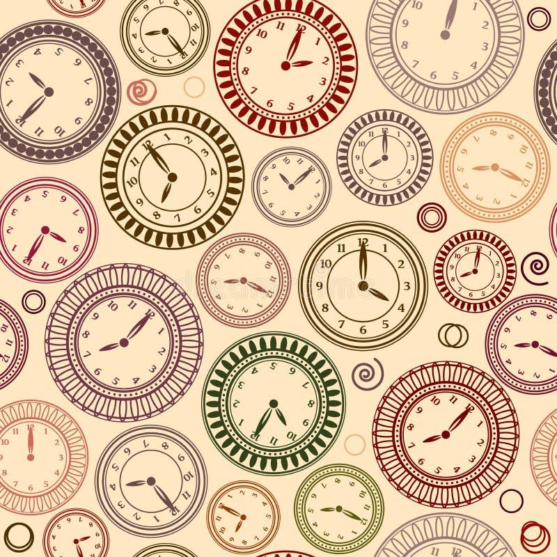 Bezszwowy wzór z zegarami na beżowym tle ilustracja wektor