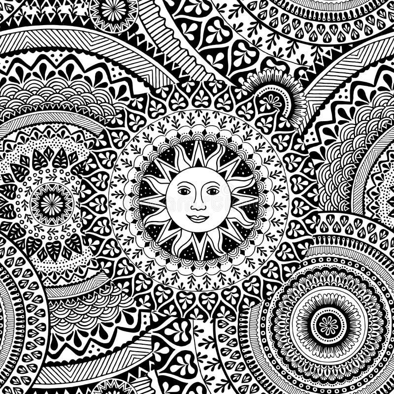 Bezszwowy wzór z zentangle wzorami i słońcem royalty ilustracja