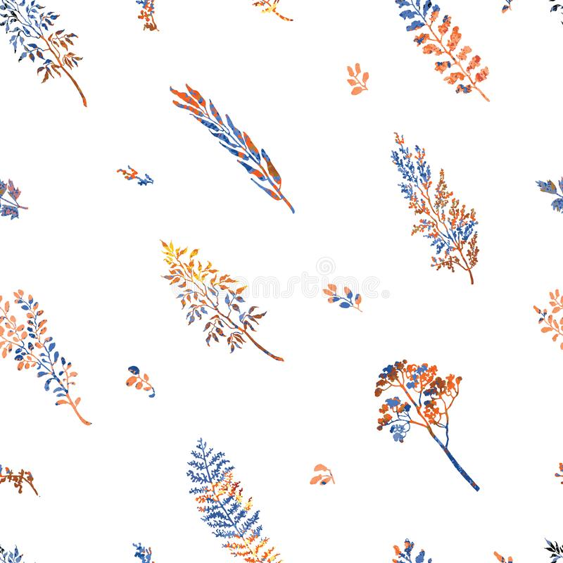 Bezszwowy wzór z ziele, roślinami i kwiatami, royalty ilustracja