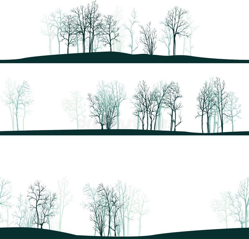 Bezszwowy wzór z zim drzewami ilustracji