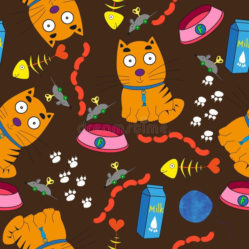 Bezszwowy wzór zawiera czerwonego kittenon ciemny tło ilustracji
