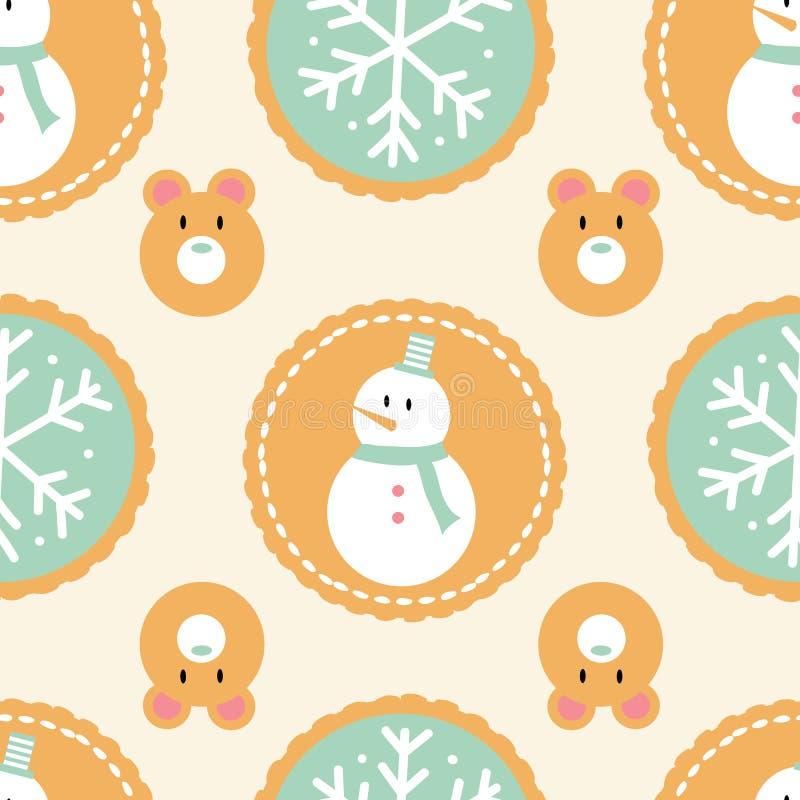 Bezszwowy wzór zima wakacje ciastka z bałwanami, płatek śniegu i niedźwiedziami na kremowym tle, ilustracja wektor