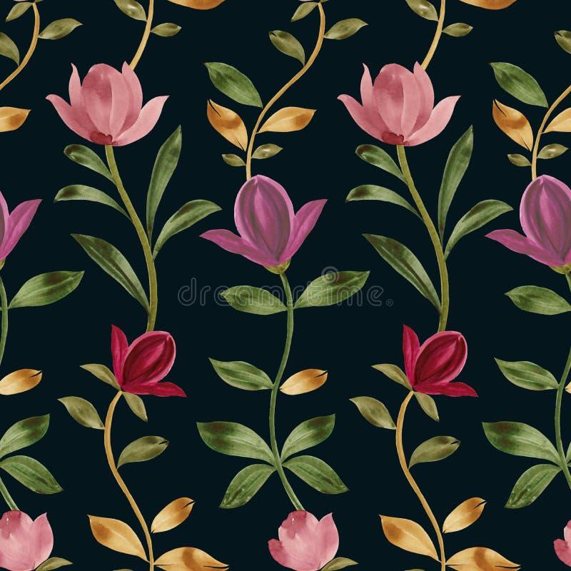 Bezszwowy wz?r dekoracyjni kwiaty obrazy royalty free