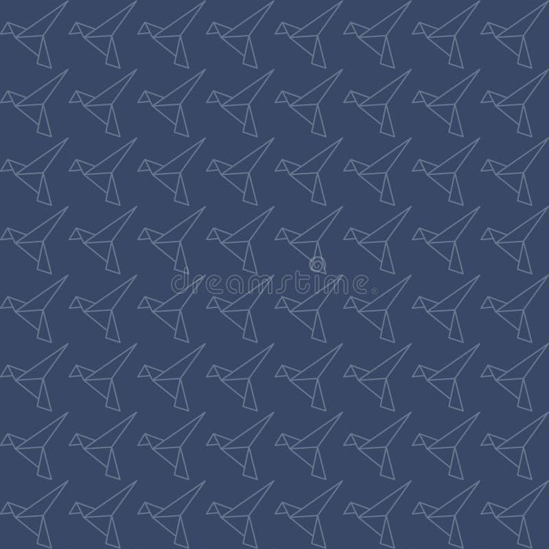 Bezszwowy wz?r origami ptak ilustracja wektor