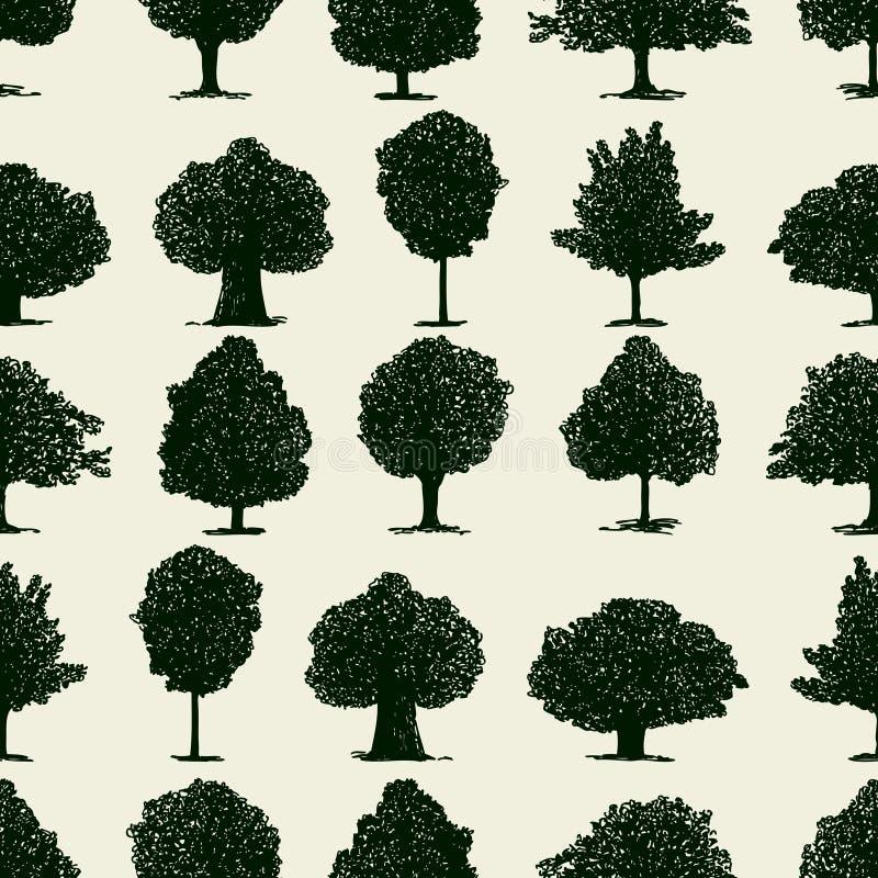 Bezszwowy wz?r sylwetki deciduous drzewa royalty ilustracja