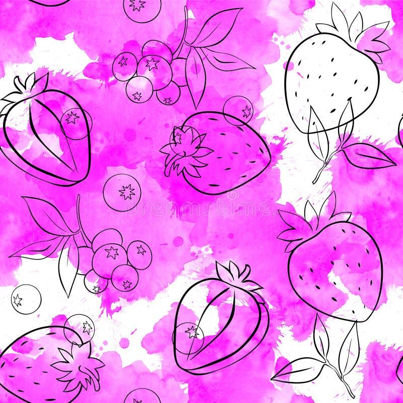 Bezszwowy wz?r truskawki i jagody kontur na tle ilustracja wektor