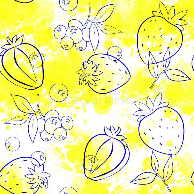 Bezszwowy wz?r truskawki i jagody kontur na tle ilustracji