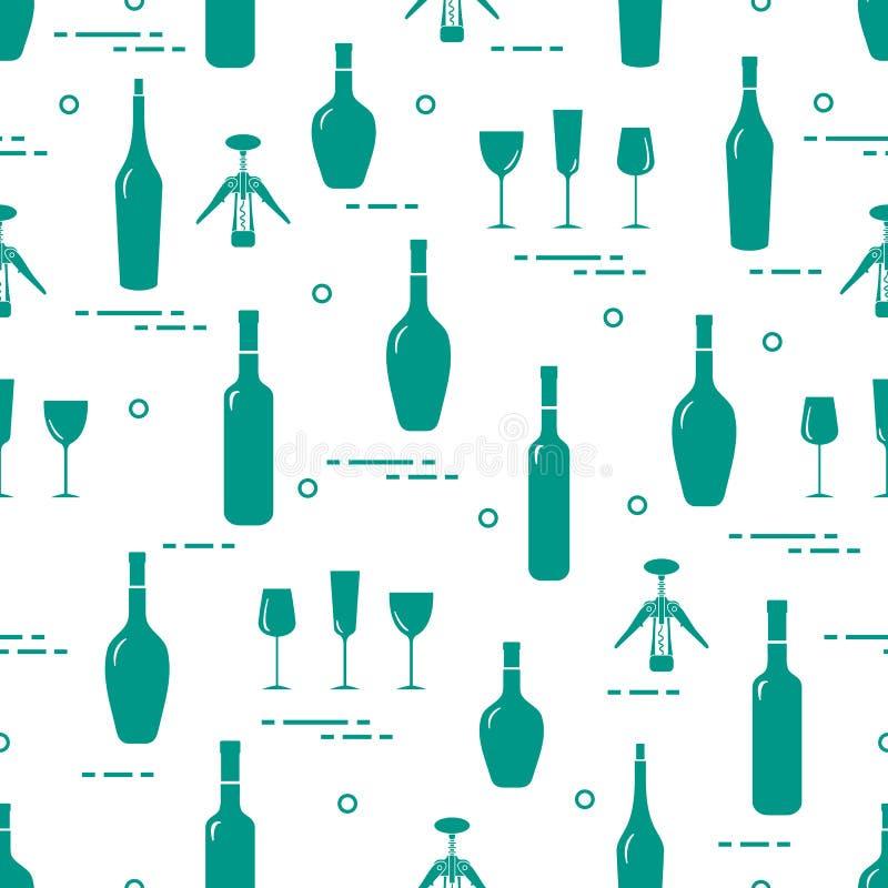 Bezszwowy wz?r win szk?a, corkscrew, butelki wino Winiarstwo _ sommelier ilustracji