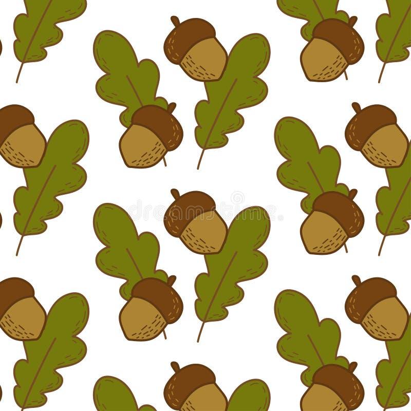 Bezszwowy wz?r z acorns i d?b?w li??mi royalty ilustracja