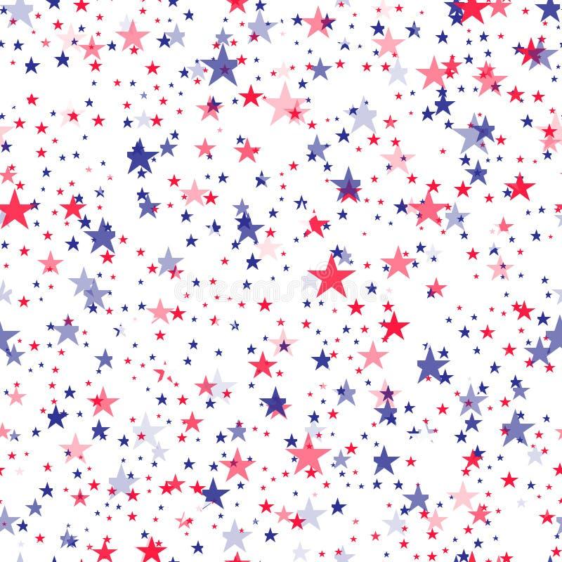 bezszwowy wz?r z b??kita i czerwieni gwiazdami wektor royalty ilustracja